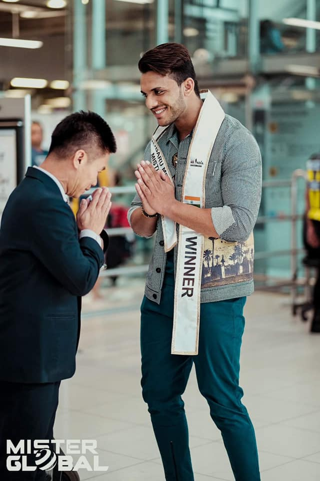 Rubaru Mr India 2019, Rishabh Chaudhary being welcomed by the Mister Global team at the airport in Bangkok, Thailand.