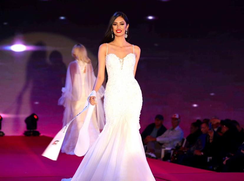 Evneet Kaur Juneja while walking down the runway during the world finale of the Miss Globe 2019 beauty pageant held in Montenegro.