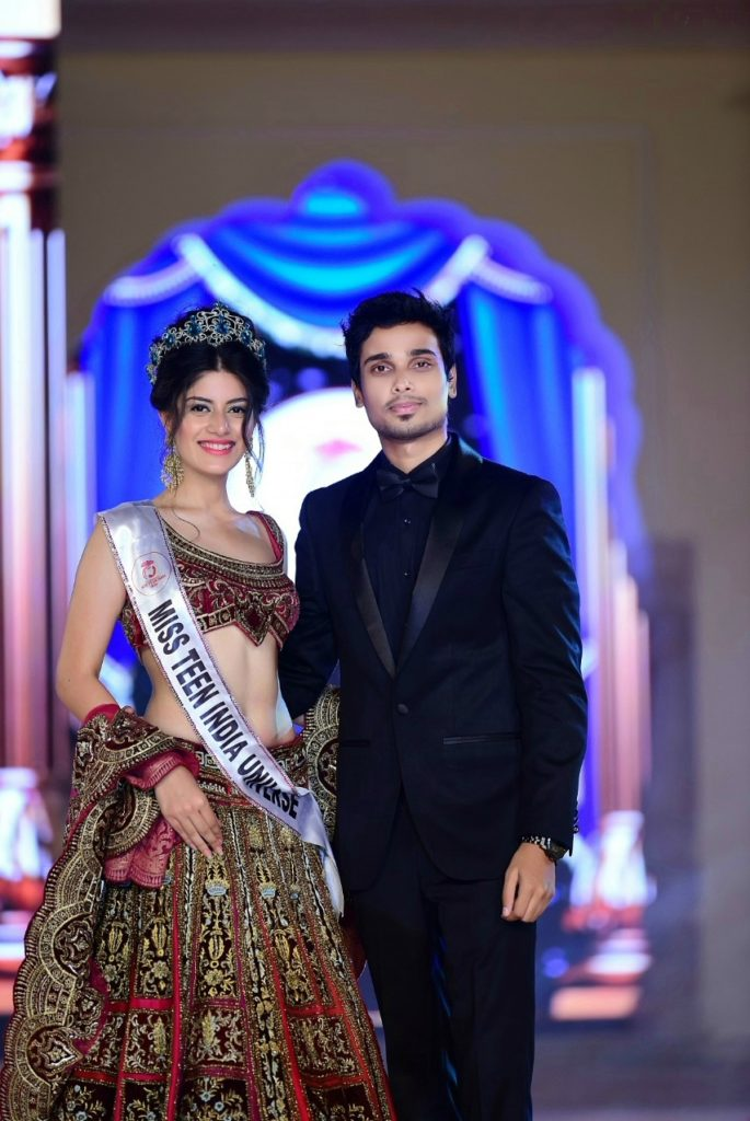 Vridhi Jain with the chairman of Glamanand Entertainment, Nikhil Anand.