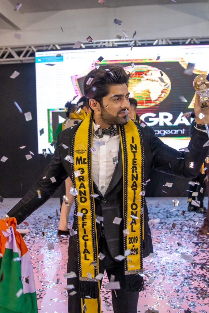 Ashwani Neeraj's winning moment at the Mr Grand International 2019 contest.