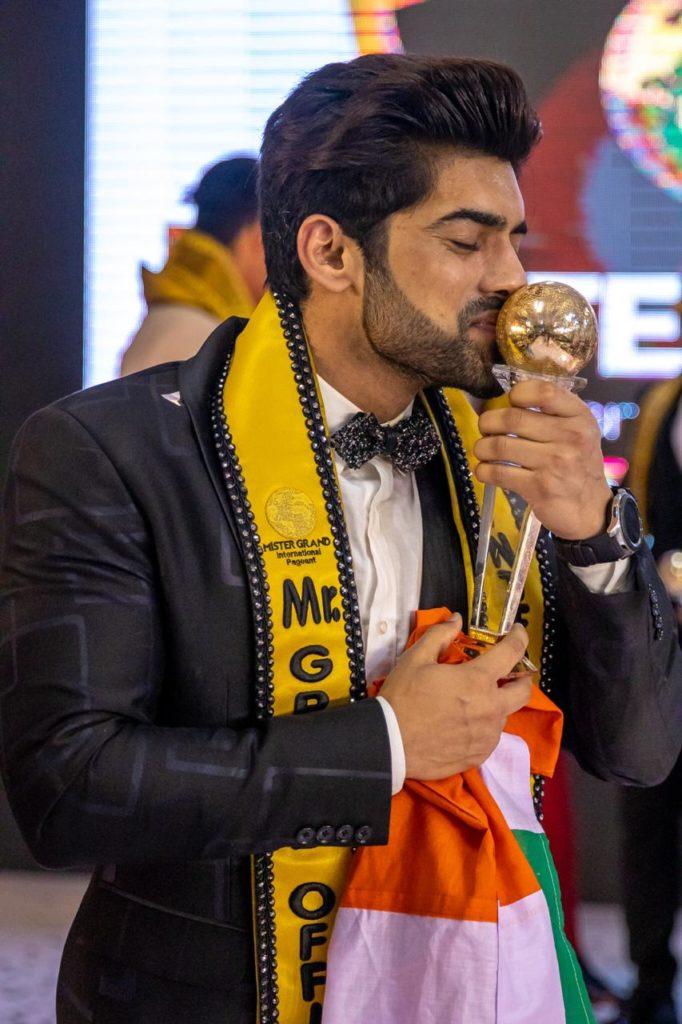 Ashwani Neeraj is the first Asian and Indian delegate to win Mr. Grand International contest.