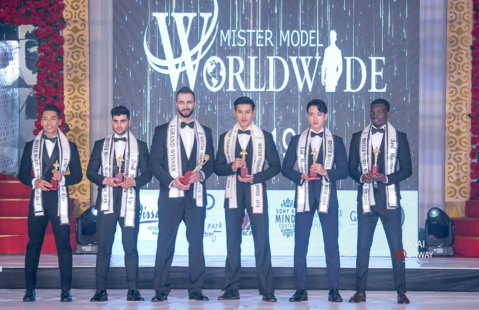 The winner of Mister Model Worldwide 2019 competition, Valdimir Solomonenko from Kazakhstan with Mister Tourism Worldwide 2019, Saphachok Taweechote from Thailand; first runner-up, Hyeon Joong Kim from Korea; second runner-up: Sultan Hasib from Afghanistan; third runner-up:  Bonface Lwako from Kenya and fourth runner-up: Md. Nasrul Zahari from Malaysia.