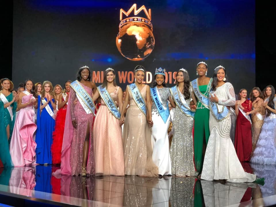 Suman Rao with Jamaica's Toni-Ann Singh (Miss World 2019); France's Ophély Mézino (Miss World 2019 – First runner-up and Miss World Europe); Brazil's Elís Miele Coelho (Miss World Americas); Nigeria's Nyekachi Douglas (Miss World Africa); Trinidad and Tobago's Tya Janè Ramey (Miss World Caribbean) and Cook Islands'Tajiya Eikura Sahay (Miss World Oceania).