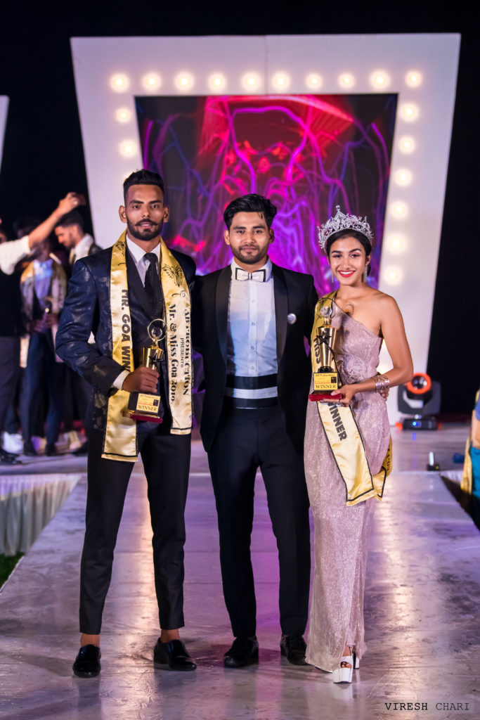 Abrar Naik, the owner of Mr. and Miss Goa pageant with Mr. Goa 2019, Malik Rehan and Miss Goa 2019, Narusha Dsouza.
