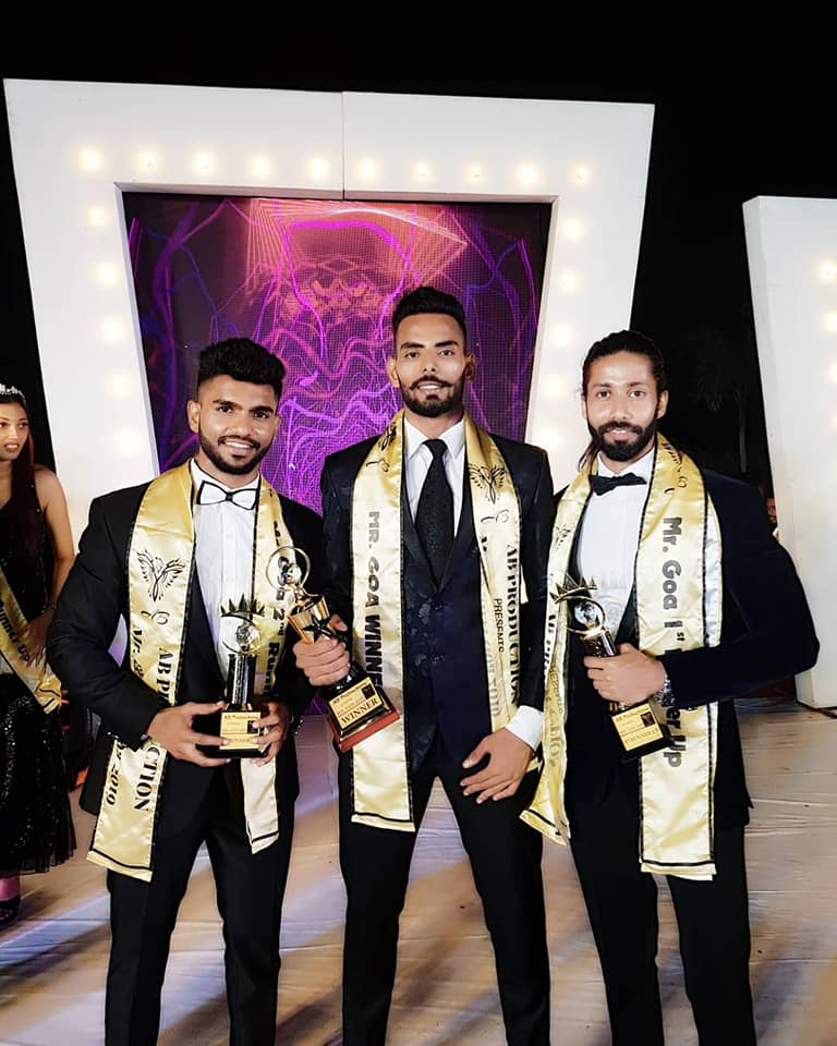 Mr. Goa 2019, Malik Rehan with first runner-up, Jedroy Mario Dacunha and second runner-up, Rendel Ferros.