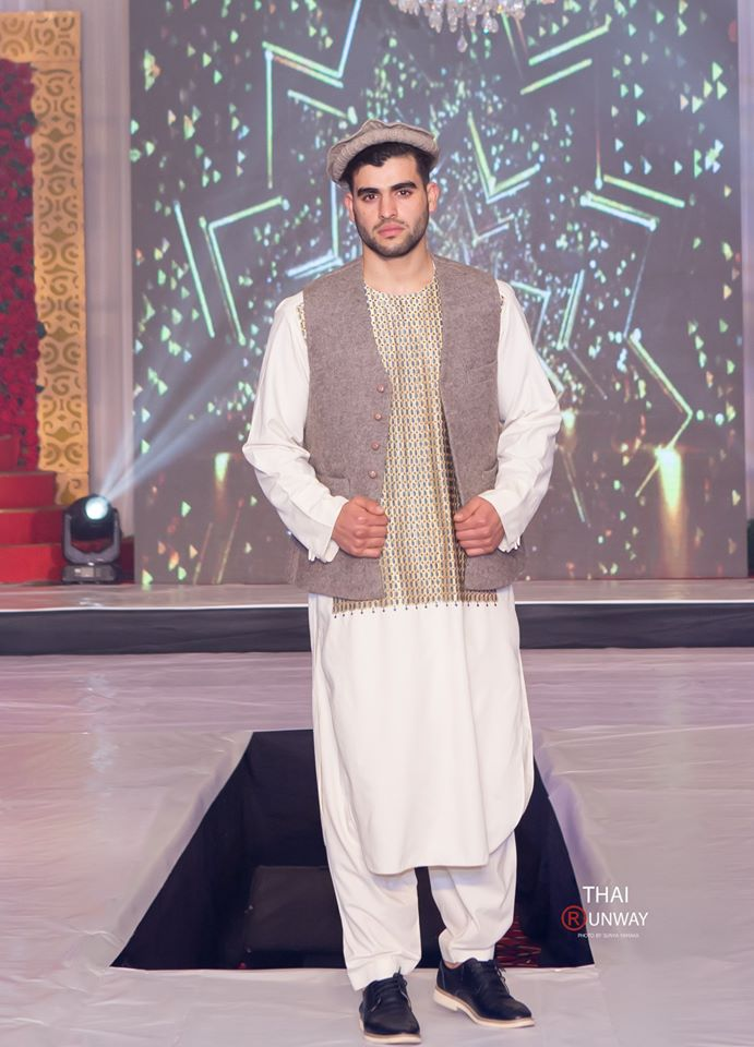 Sultan Hasib while walking down the runway during the national costume segment of international modelling competition, Mister Model Worldwide.
