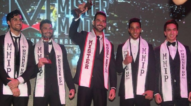 India's Pratik Virk (first from left) with his fellow titleholders of Mister Model International Pageant.