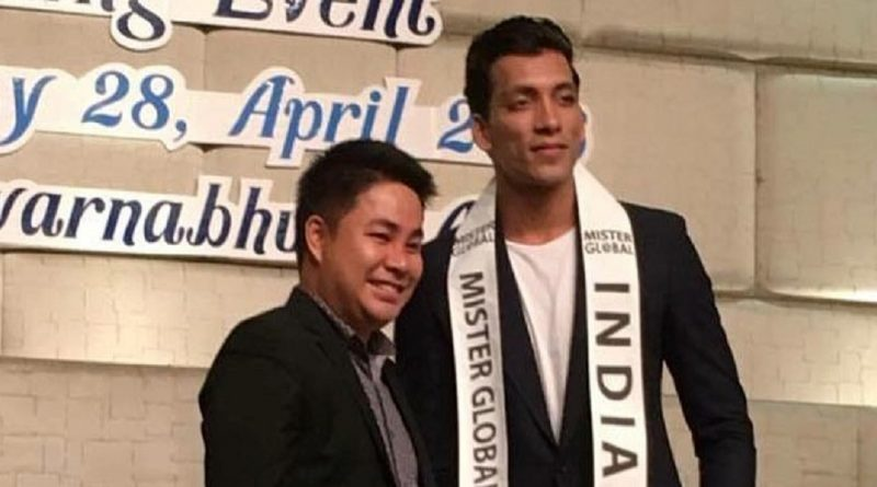 Prateek Baid with the founder and president of Mister Global pageant, Pradit Pradinunt during the Mister Global 2016 contest held in Thailand.
